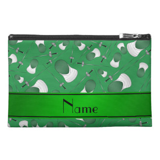Personalized name green fencing pattern travel accessories bags