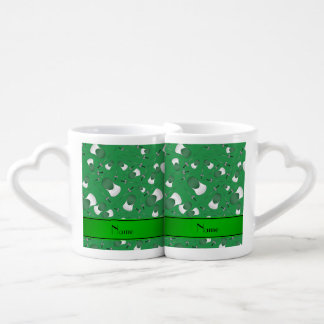 Personalized name green fencing pattern coffee mug set