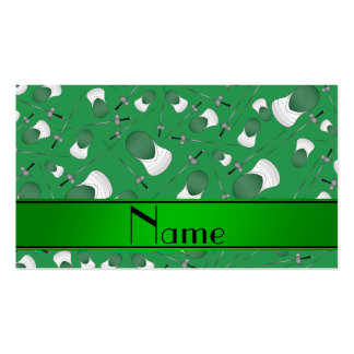 Personalized name green fencing pattern Double-Sided standard business cards (Pack of 100)
