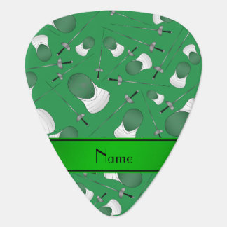 Personalized name green fencing pattern guitar pick