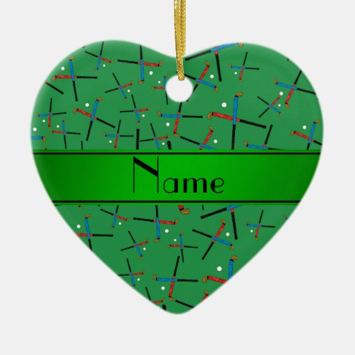 Personalized name green field hockey pattern christmas tree ornament