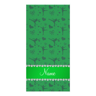 Personalized name green figure skating photo card