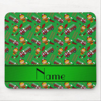Personalized name green firemen trucks ladders mouse pad