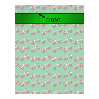 "Personalized name green firetrucks 8.5"" x 11"" flyer"
