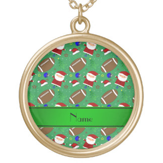 Personalized name green football christmas jewelry