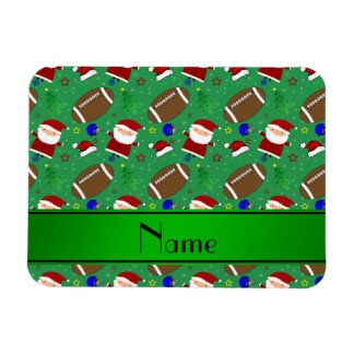 Personalized name green football christmas rectangular photo magnet