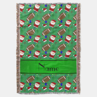 Personalized name green football christmas throw blanket