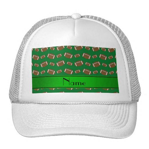 Personalized name green footballs green stripe hat
