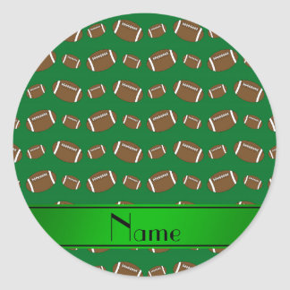 Personalized name green footballs green stripe classic round sticker