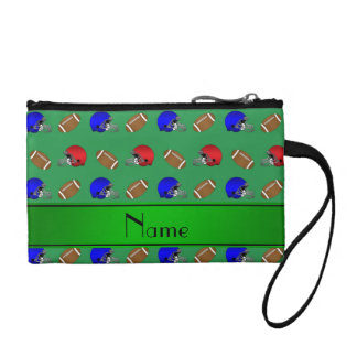 Personalized name green footballs helmets coin wallet