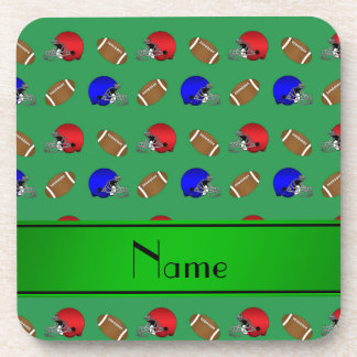 Personalized name green footballs helmets coasters