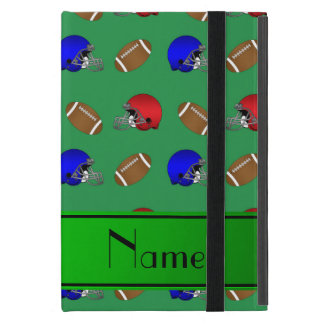 Personalized name green footballs helmets iPad mini case