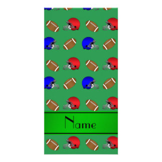 Personalized name green footballs helmets customized photo card