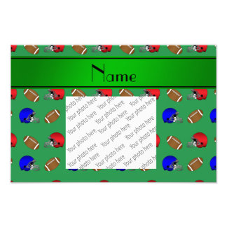Personalized name green footballs helmets photo