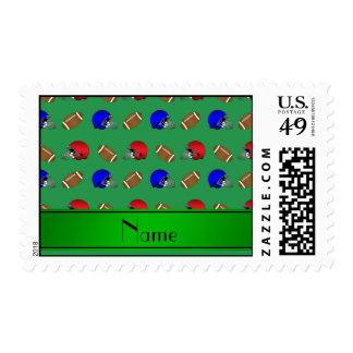 Personalized name green footballs helmets postage stamp