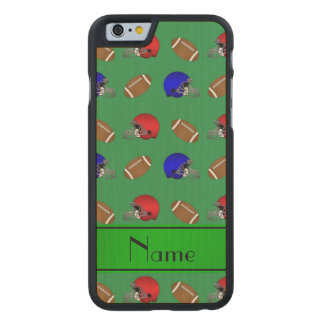 Personalized name green footballs helmets carved® maple iPhone 6 slim case
