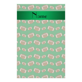 Personalized name green footballs stationery