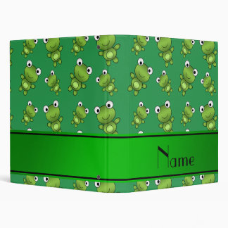 Personalized name green frogs vinyl binder