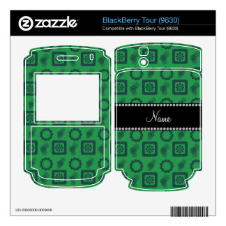 Personalized name green funky retro flowers decal for the BlackBerry