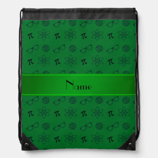 Personalized name green geek pattern drawstring backpacks