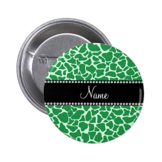 Personalized name green giraffe pattern 2 inch round button