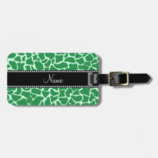 Personalized name green giraffe pattern tags for bags