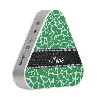 Personalized name green giraffe pattern bluetooth speaker