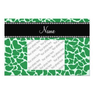 Personalized name green giraffe pattern photo print