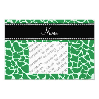 Personalized name green giraffe pattern art photo