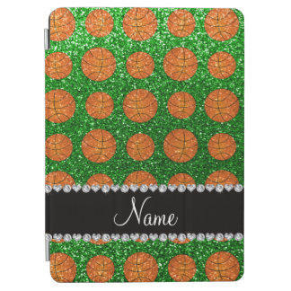 Personalized name green glitter basketballs iPad air cover