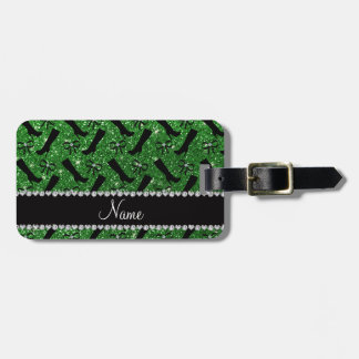 Personalized name green glitter boots bows bag tag