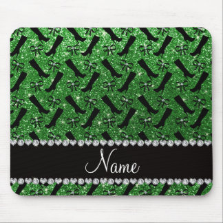 Personalized name green glitter boots bows mouse pad