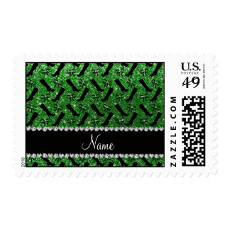 Personalized name green glitter boots bows postage