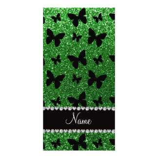 Personalized name green glitter butterflies picture card