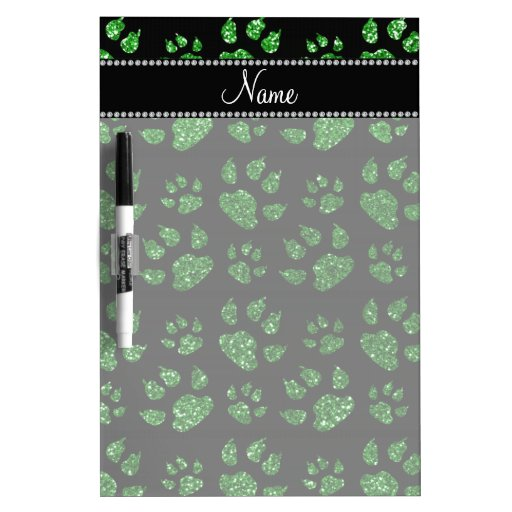Personalized name green glitter cat paws dry erase whiteboards