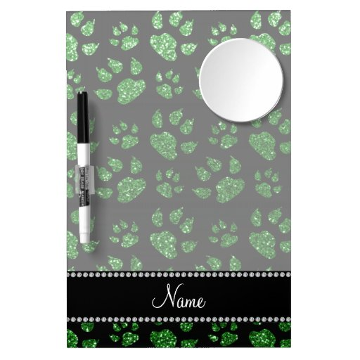 Personalized name green glitter cat paws Dry-Erase boards