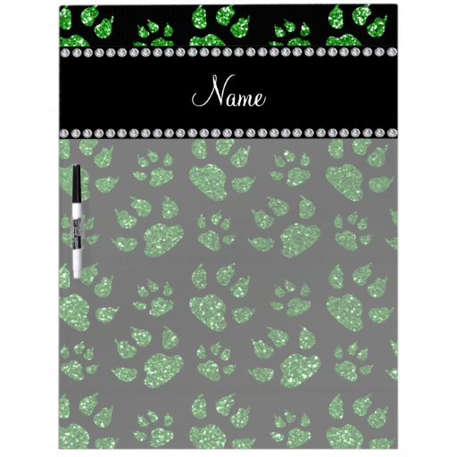 Personalized name green glitter cat paws dry erase boards