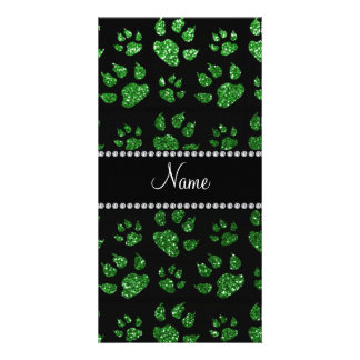 Personalized name green glitter cat paws custom photo card