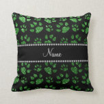 Personalized name green glitter cat paws pillows
