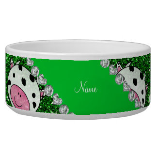 Personalized name green glitter cow heads pet bowl