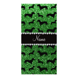 Personalized name green glitter dachshunds photo card template