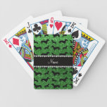 Personalized name green glitter dachshunds bicycle poker deck