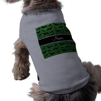 Personalized name green glitter dachshunds shirt