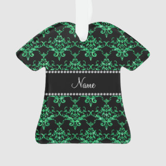 Personalized name green glitter damask
