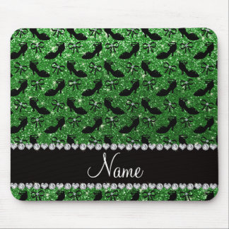 Personalized name green glitter fancy shoes bows mouse pad