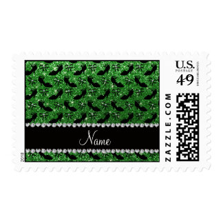 Personalized name green glitter fancy shoes bows postage