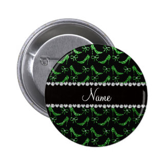 Personalized name green glitter high heels bow pin