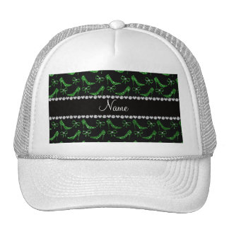 Personalized name green glitter high heels bow mesh hats