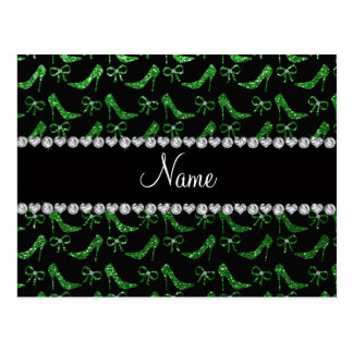 Personalized name green glitter high heels bow postcard