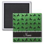 Personalized name green glitter horses fridge magnet